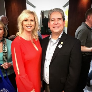Carrie Gates, VP of Leasing and Marketing at Barrister Executive Suites with Bob Frutos, Burbank City Council Member at the Burbank Executive Suite's Grand Reopening in January 2018