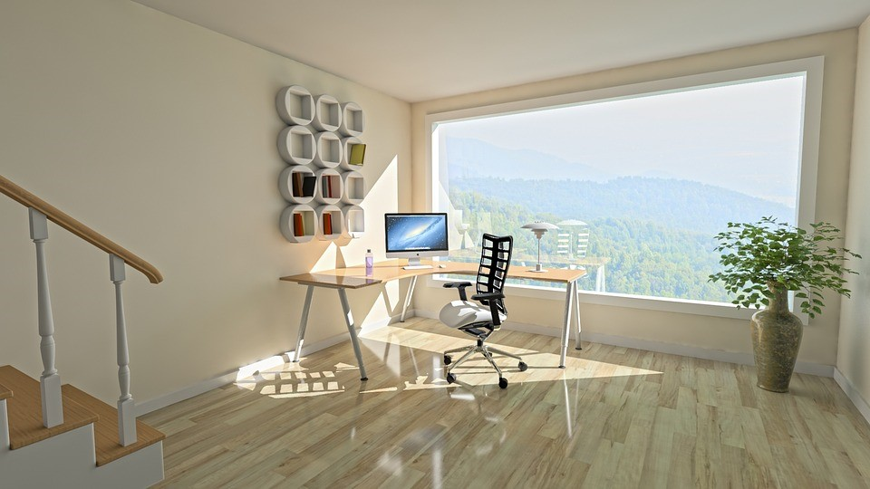 futuristic work space in home with wide window
