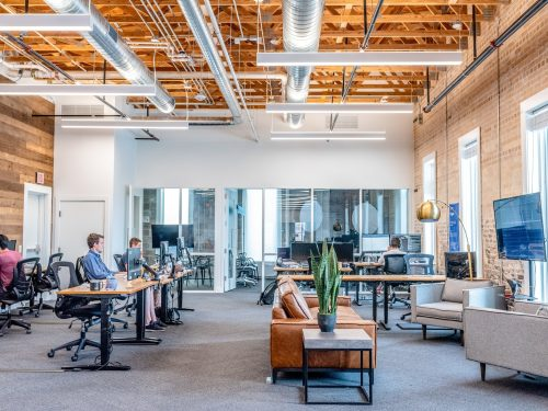 men working in a modern office space