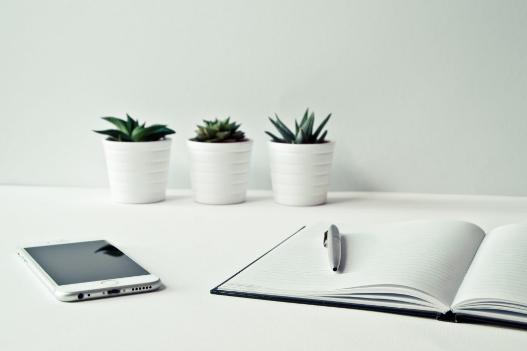 succulents, a notebook, and a phone on a white table and white walls
